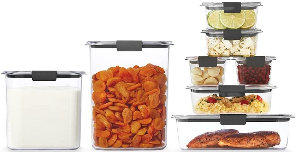 eight food storage containers filled with food