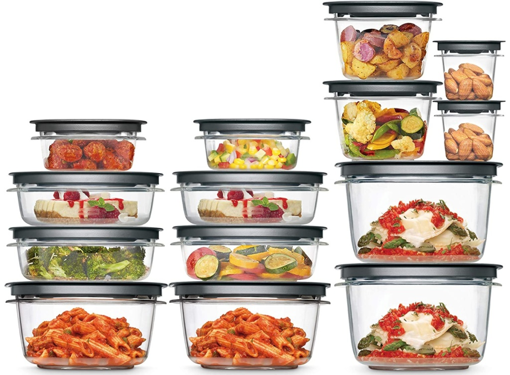 14 food storage containers filled with food