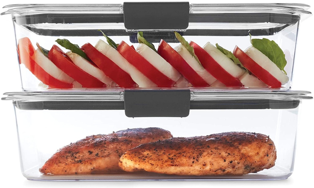 two clear foot storage containers filled with food