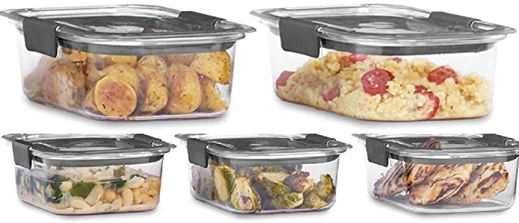 five food storage containers filled with food