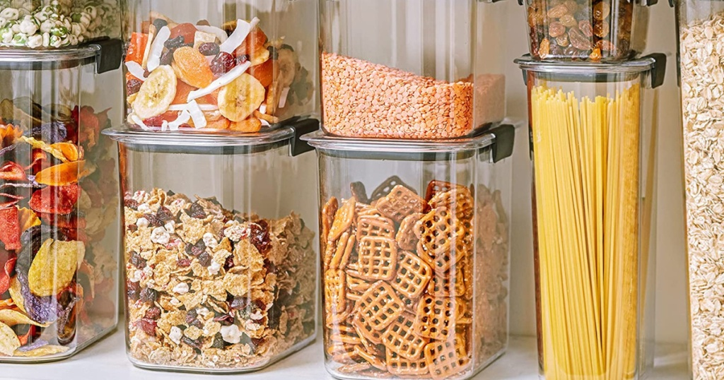 clear containers fill with food