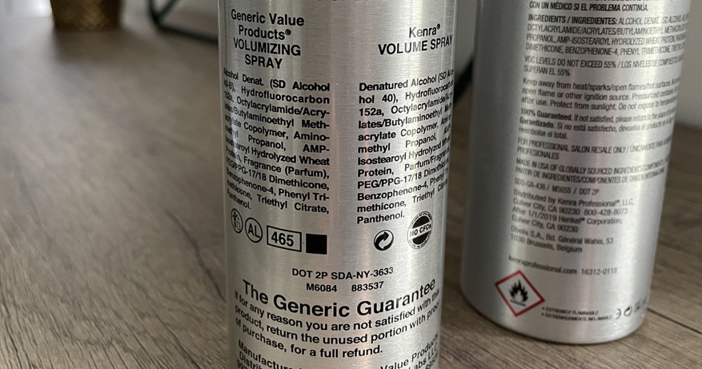 sally beauty generic and kenra comparison of ingredients