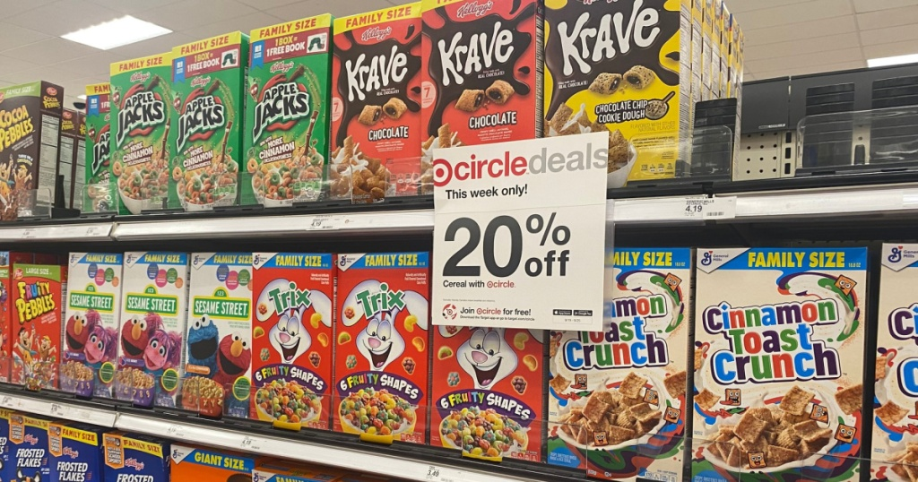 target cereal in store on shelf