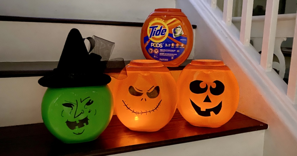 tide pod container pumpkins on the stairs