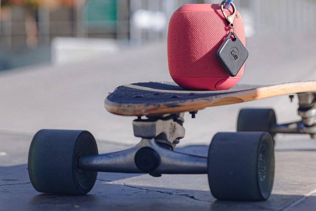 tile sport on speaker on skateboard