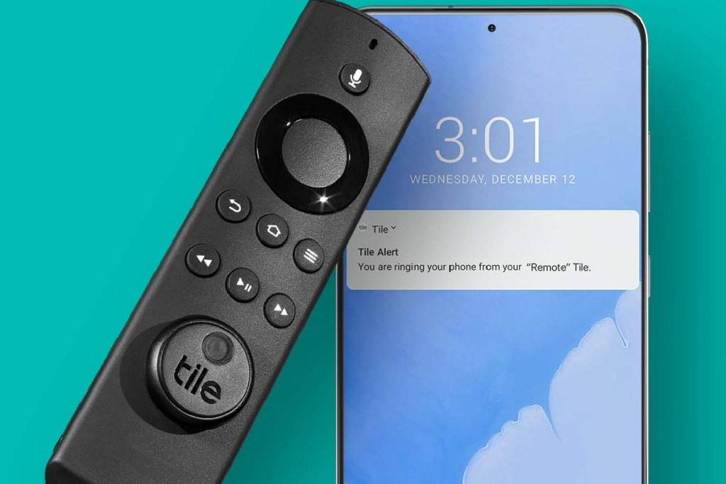 tile sticker on remote w/ phone app