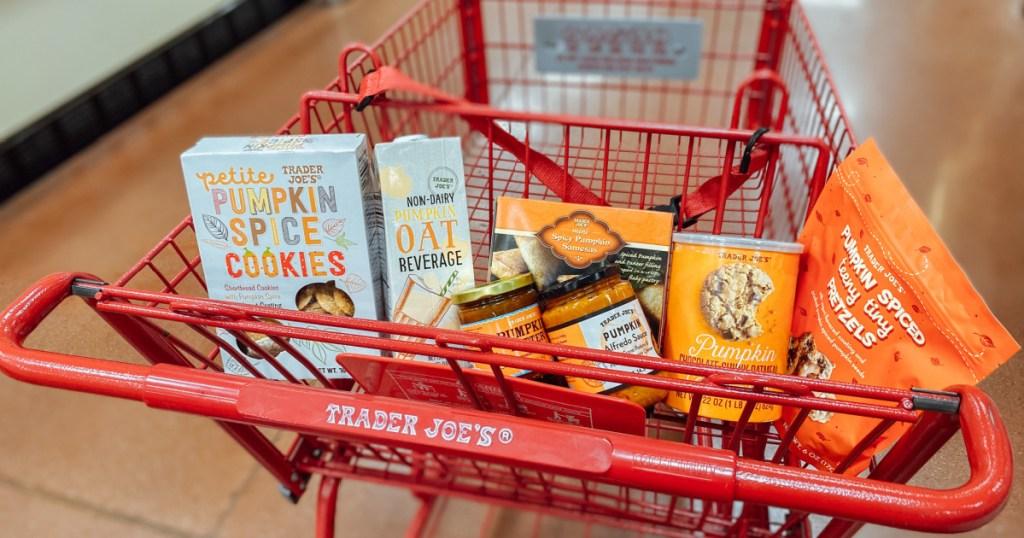Trader Joe's cart with pumpkin-flavored items
