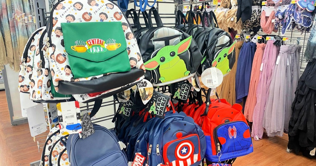 tv show character-themed mini backpacks at walmart