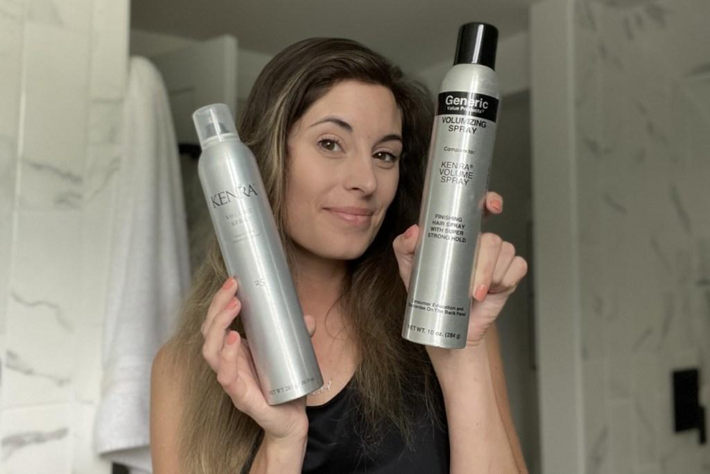 woman holding hair sprays