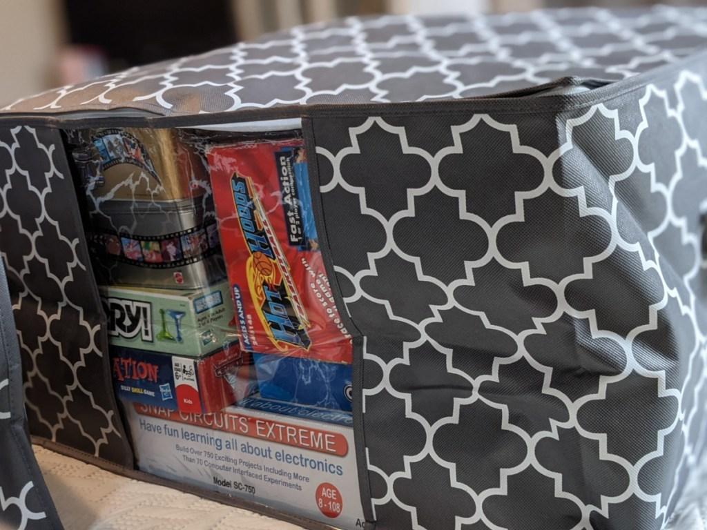 storage bag full of board games