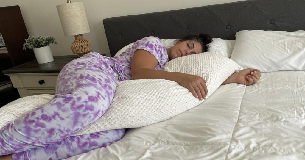 woman laying on full body water