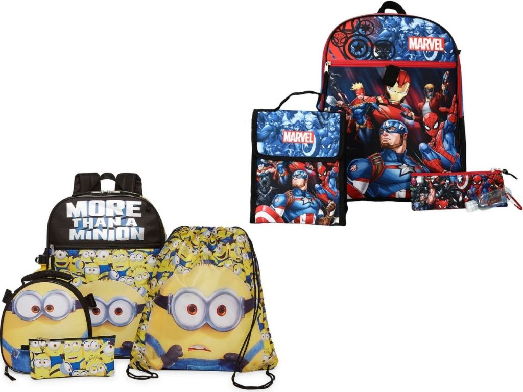 two 5-piece backpack sets