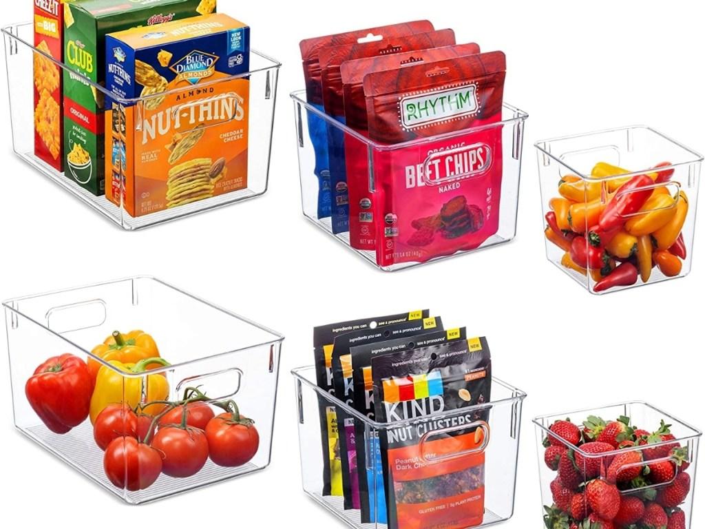 set of 6 clear plastic storage bins