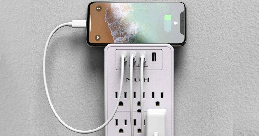 Surge Protector W/ 6 Outlets, 4 Usb Ports & Telephone Holder Lone $12.59 On Amazon