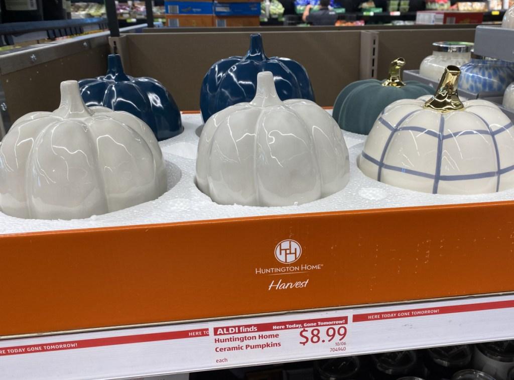 ceramic pumpkins on display in ALDI store