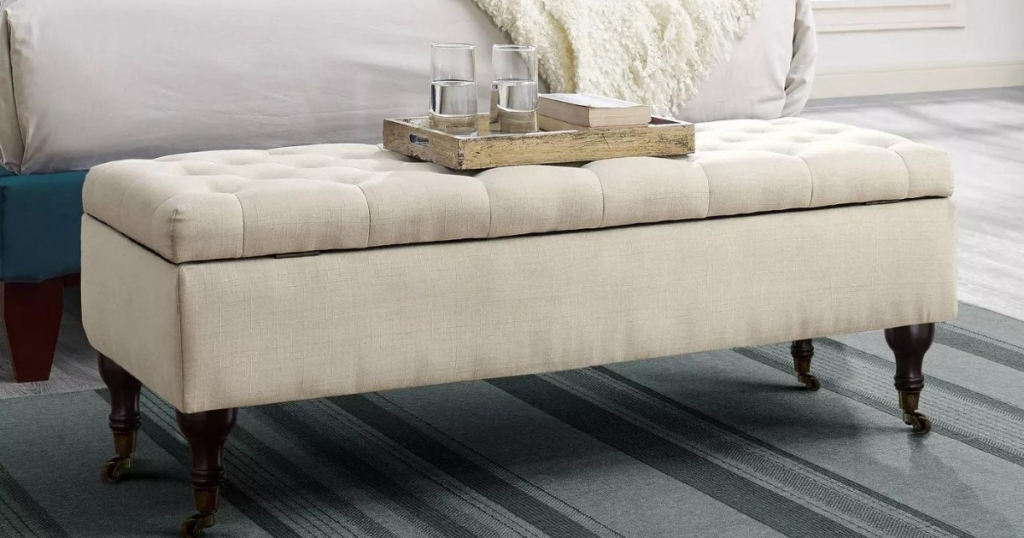 Adore Decor Collette Tufted Bench with Storage in Butter Cream