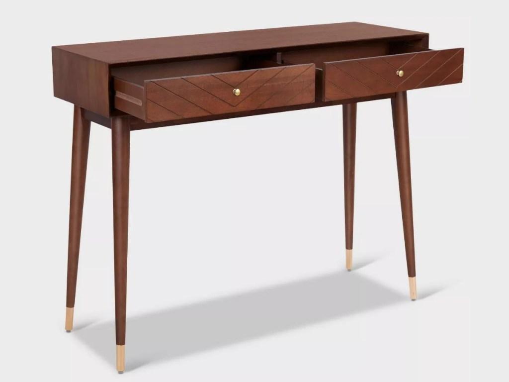 Adore Decor Modern Console Table in Walnut Brown