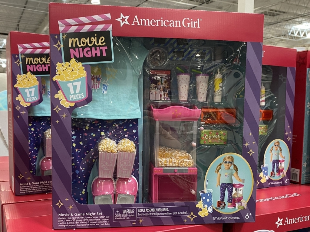 american girl movie and game night accessories set