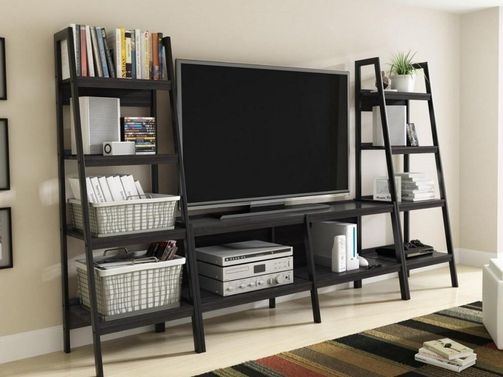 ameriwood home hayes 4 shelf ladder bookshelves with tv