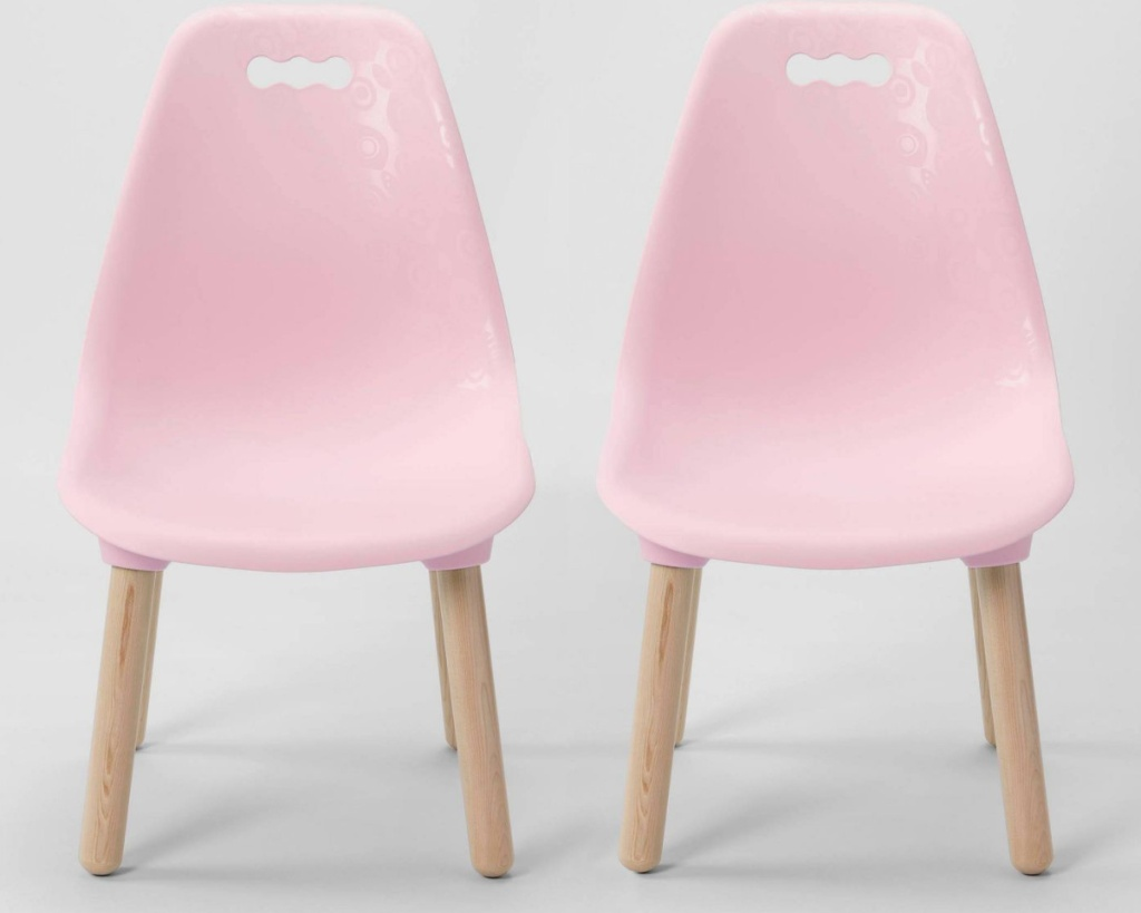 B. spaces set of 2 chairs in pink