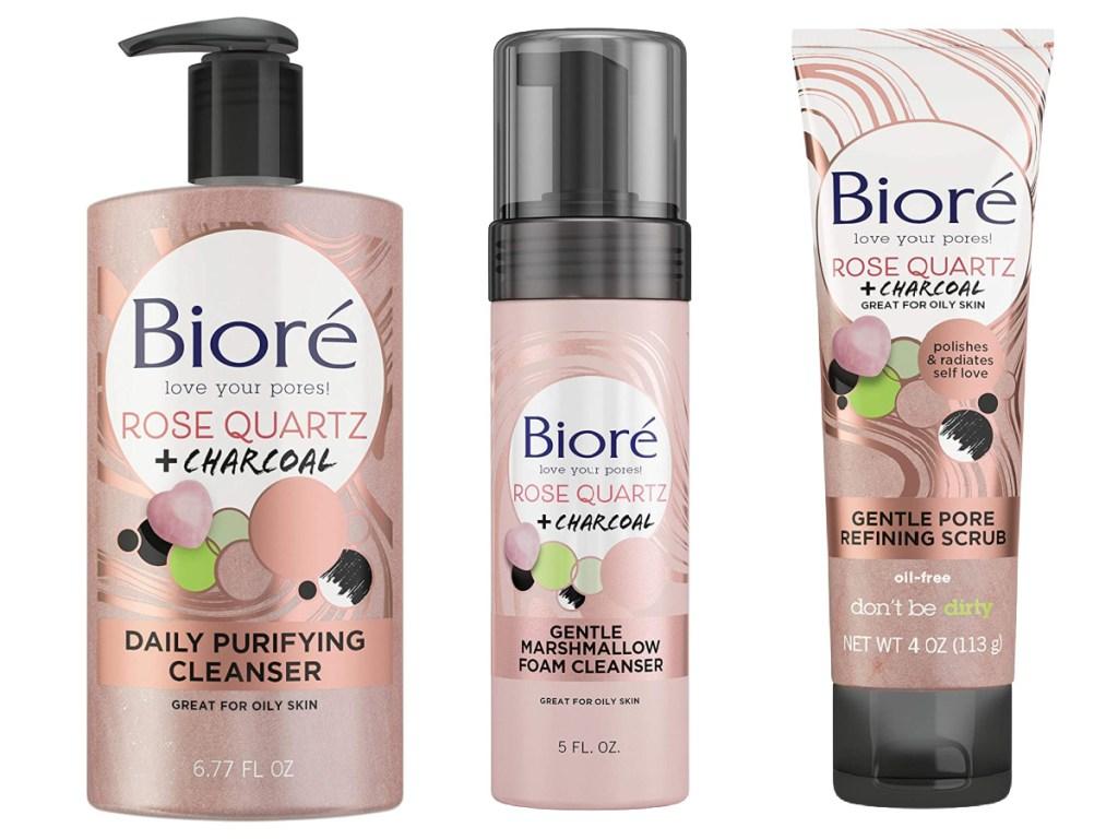 Bioré Rose Quartz + Charcoa; gentle cleaner. foam cleanser and scrub