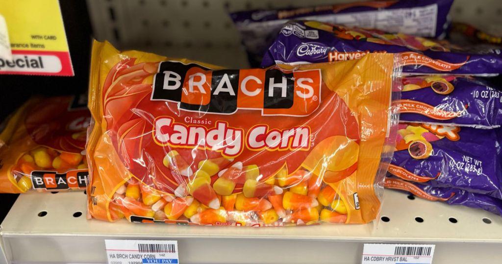 bag of candy corn on shelf