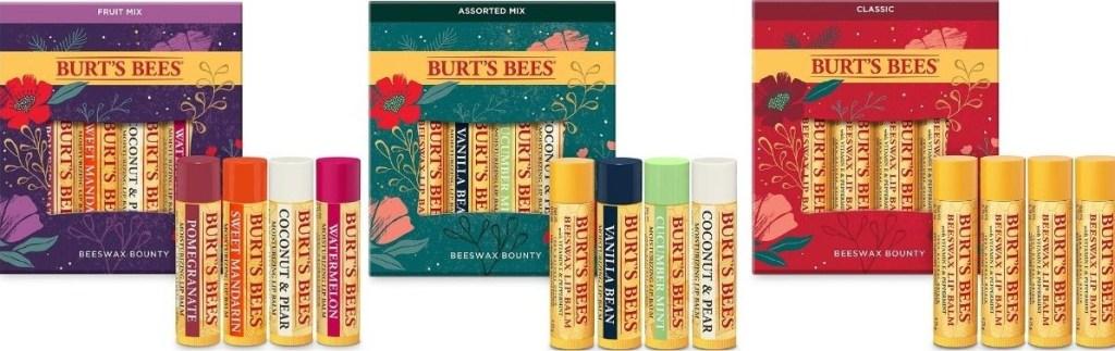 three Burt's Bees Lip Balm Gift Sets