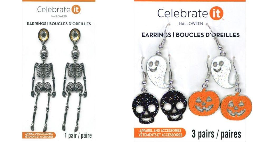 two packs of earrings