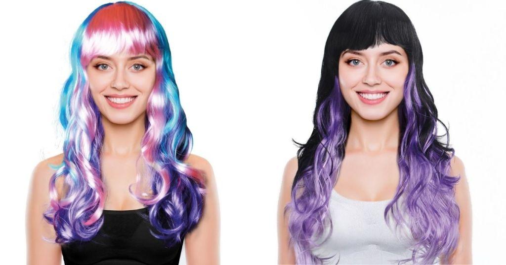 two women wearing wigs