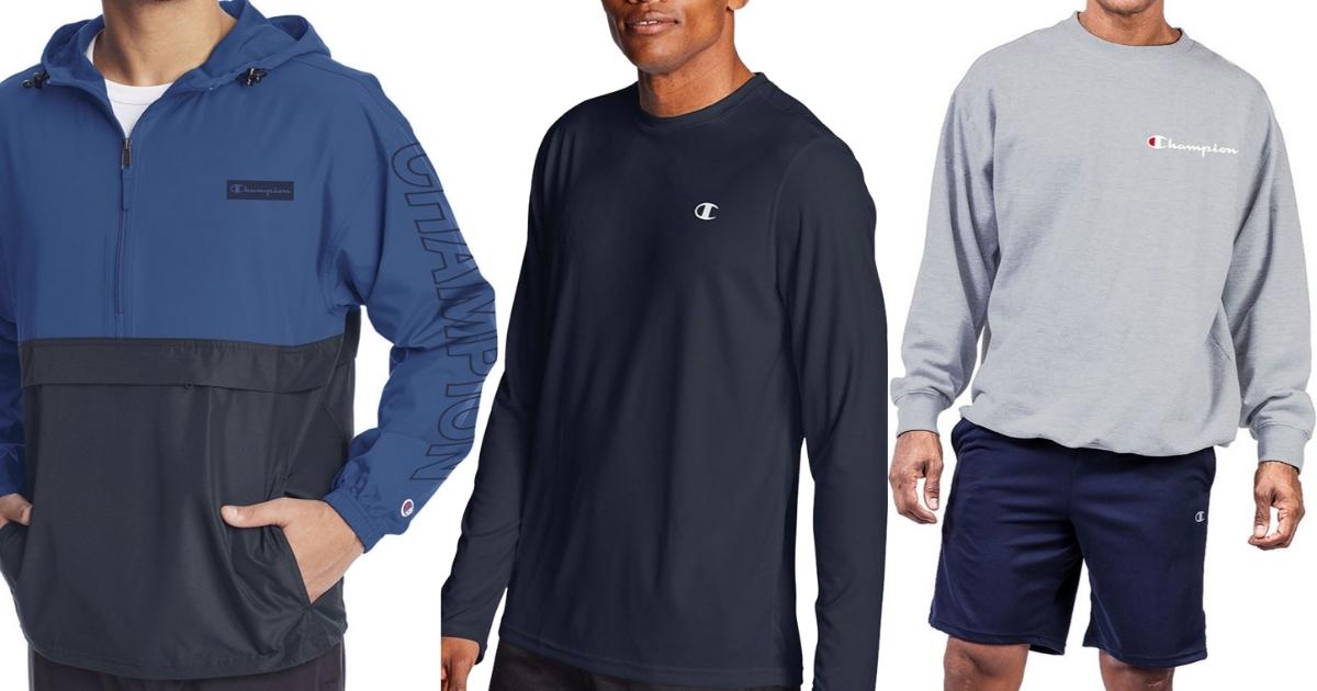 champion men's tee, windbreaker and crewneck sweatshirt