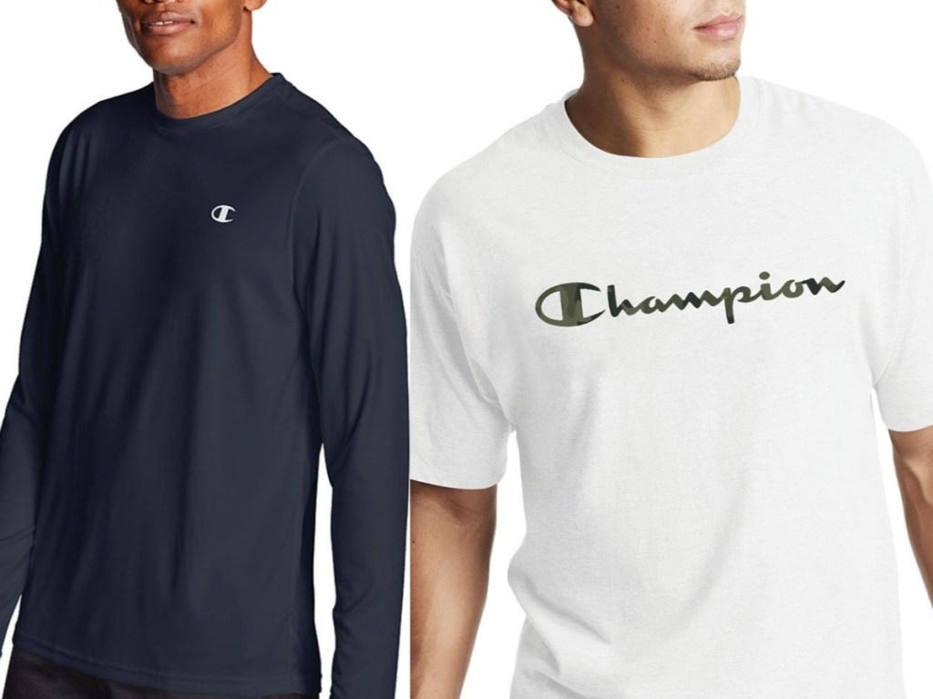 men's champion long sleeve tee and camo graphic short sleeve tee
