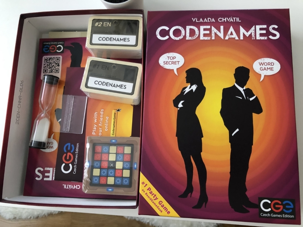 codenames board game box with pieces