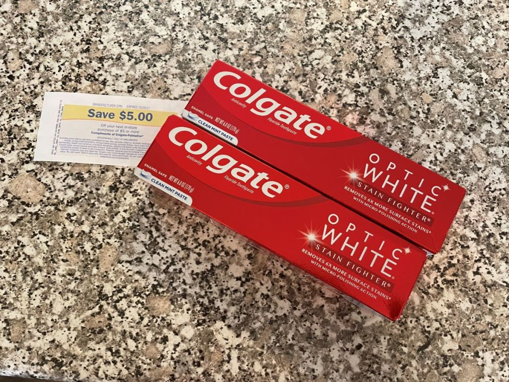 two toothpastes with Register Rewards