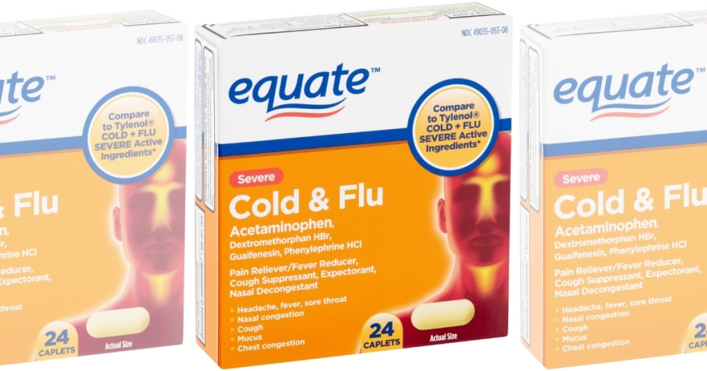 three boxes of equate severe cold and flu