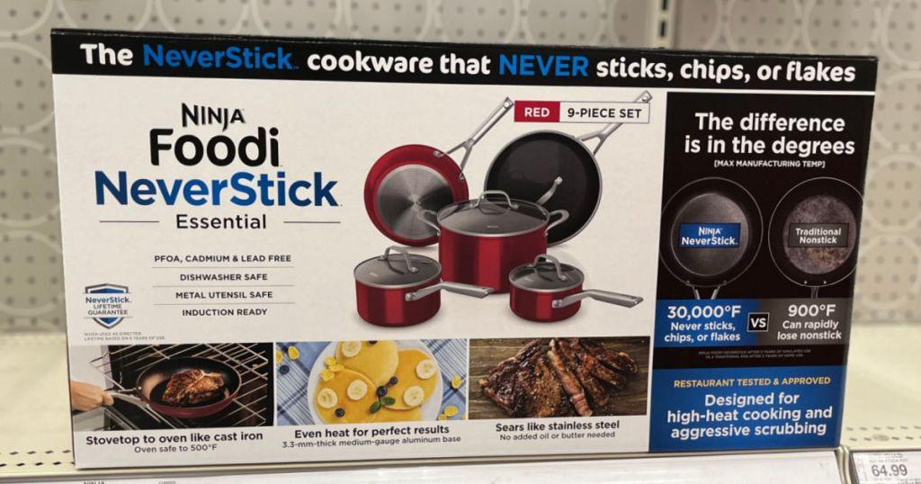 red cookware set on shelf