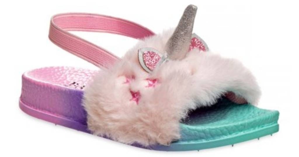 girls unicorn fur sandals from walmart