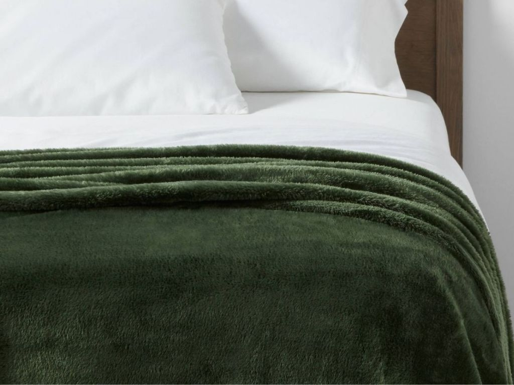 Green Plush Throw Blanket
