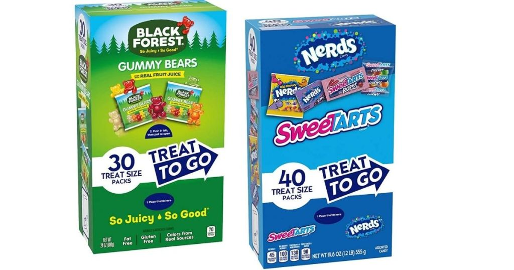 Gummy Bears and Sweetarts boxes