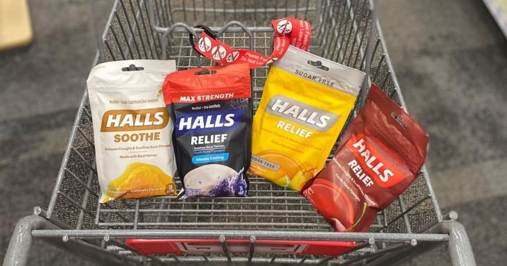 4 halls cough drops in cart