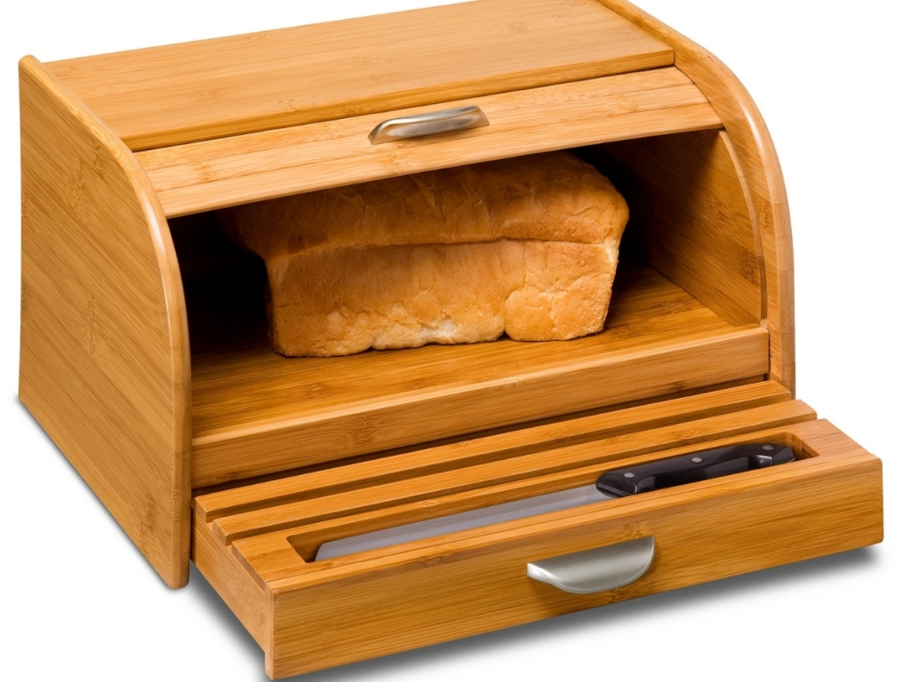 honey can do bamboo bread box with bread