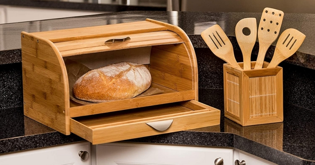 honey can do bread box with bread and utensils