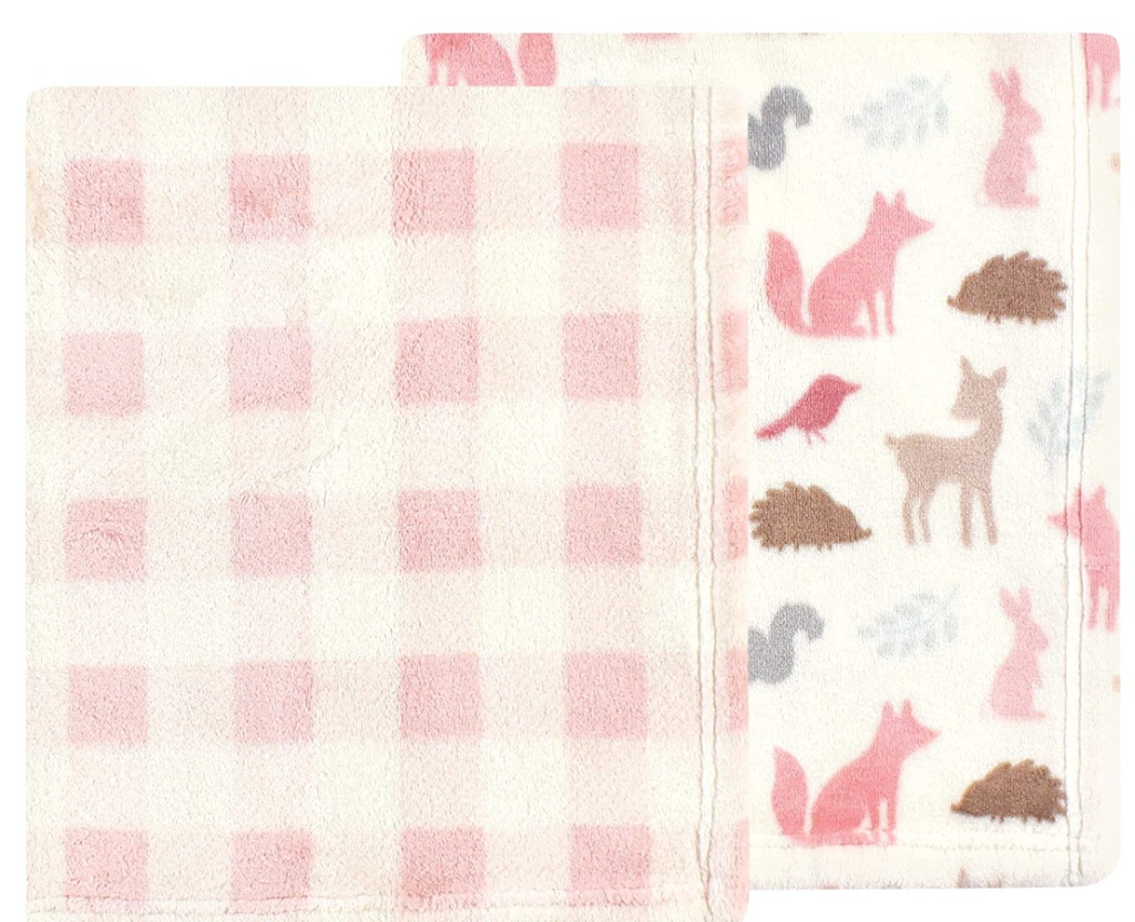 Hudson Baby Unisex Baby Cozy Plush Luxury Blankets in Woodland Silhouette 2 Pack