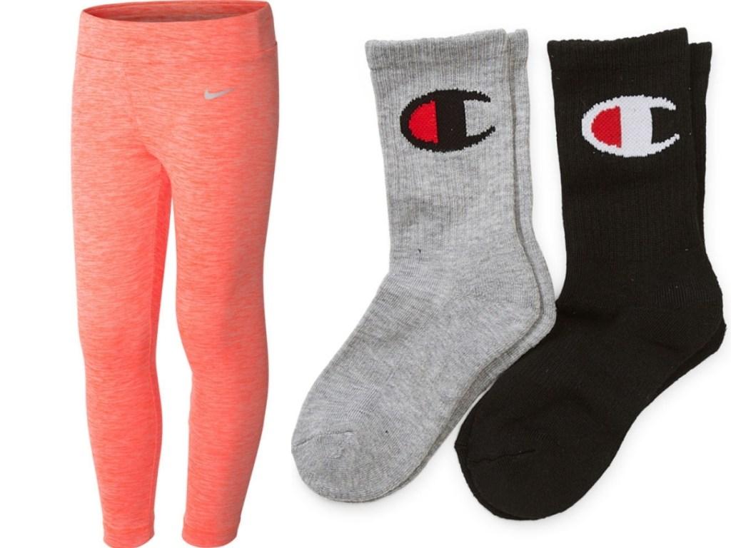 nike girls leggings and boys champion socks at jcpenney