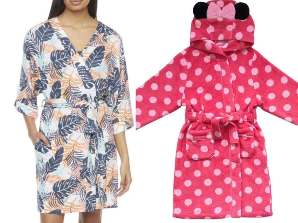 women's tropical robes and minnie mouse robe