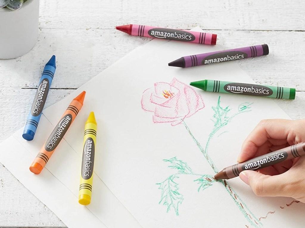 amazon basics jumbo crayons being colored with