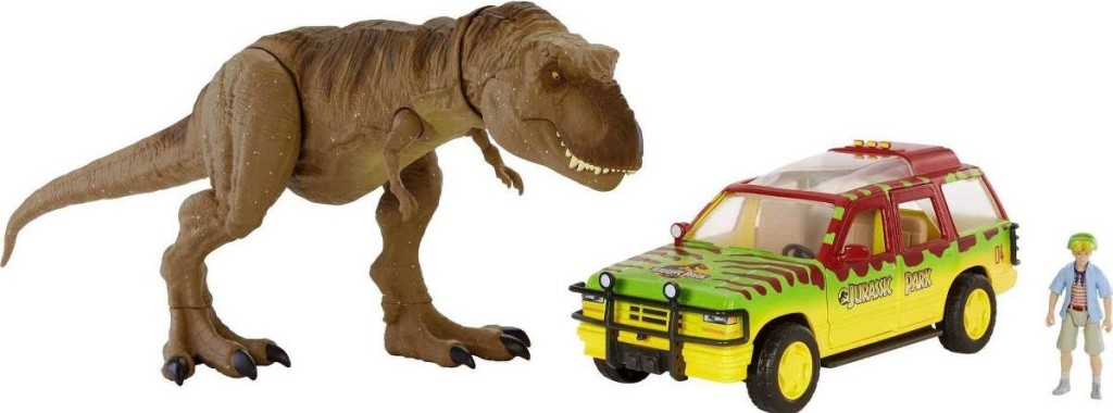 toy dinosaur and truck