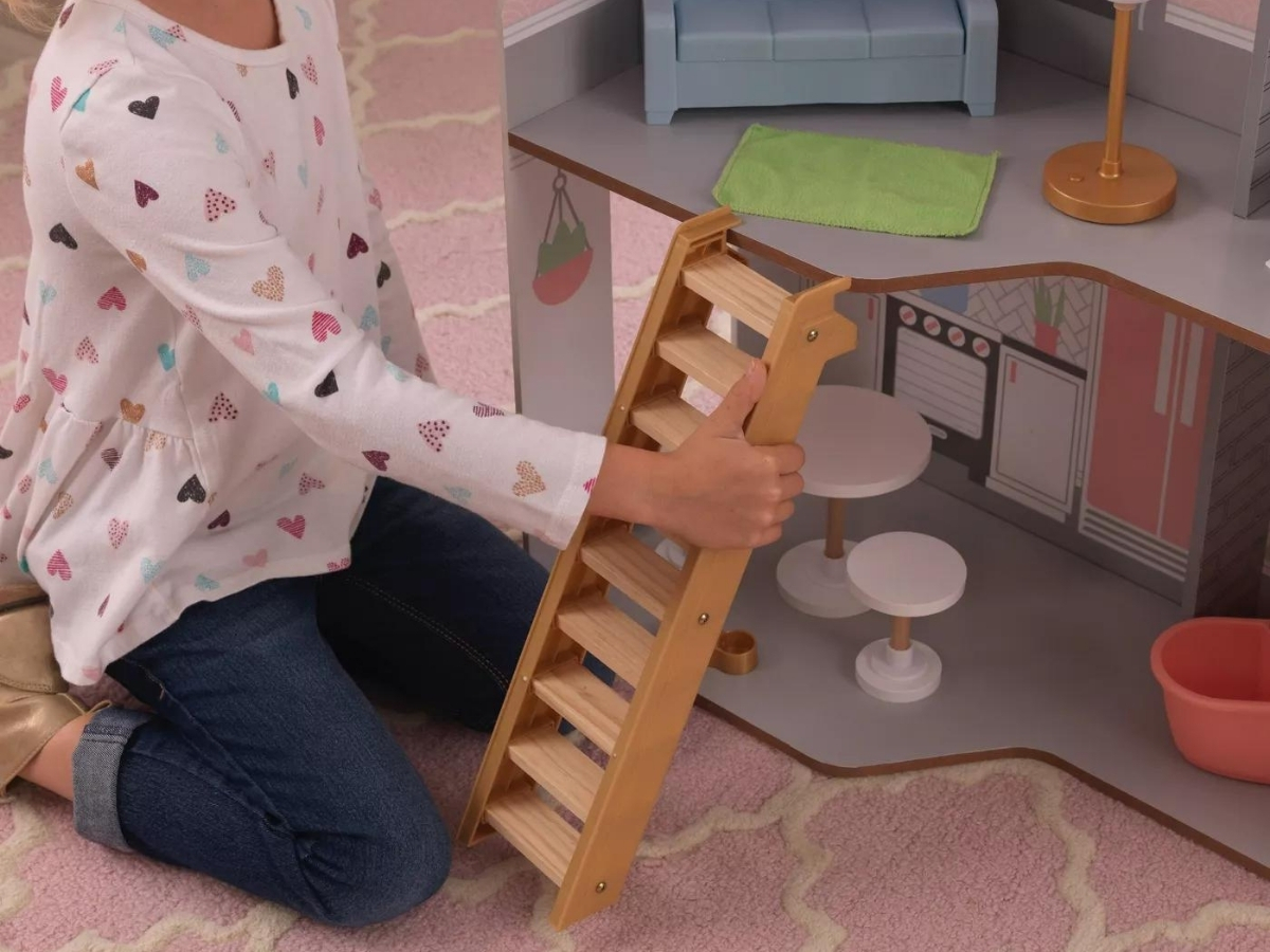 Kidkraft Alina Wooden Dollhouse with 15 Play Furniture Accessories