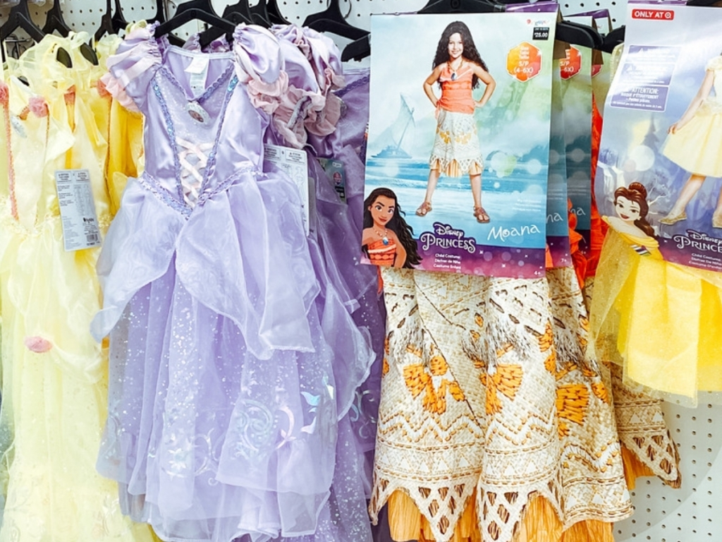 kids tangled dress and moana outfit halloween costumes in store