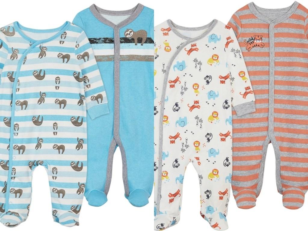 koala baby boys sloth footie and tiger footie 2 piece sets