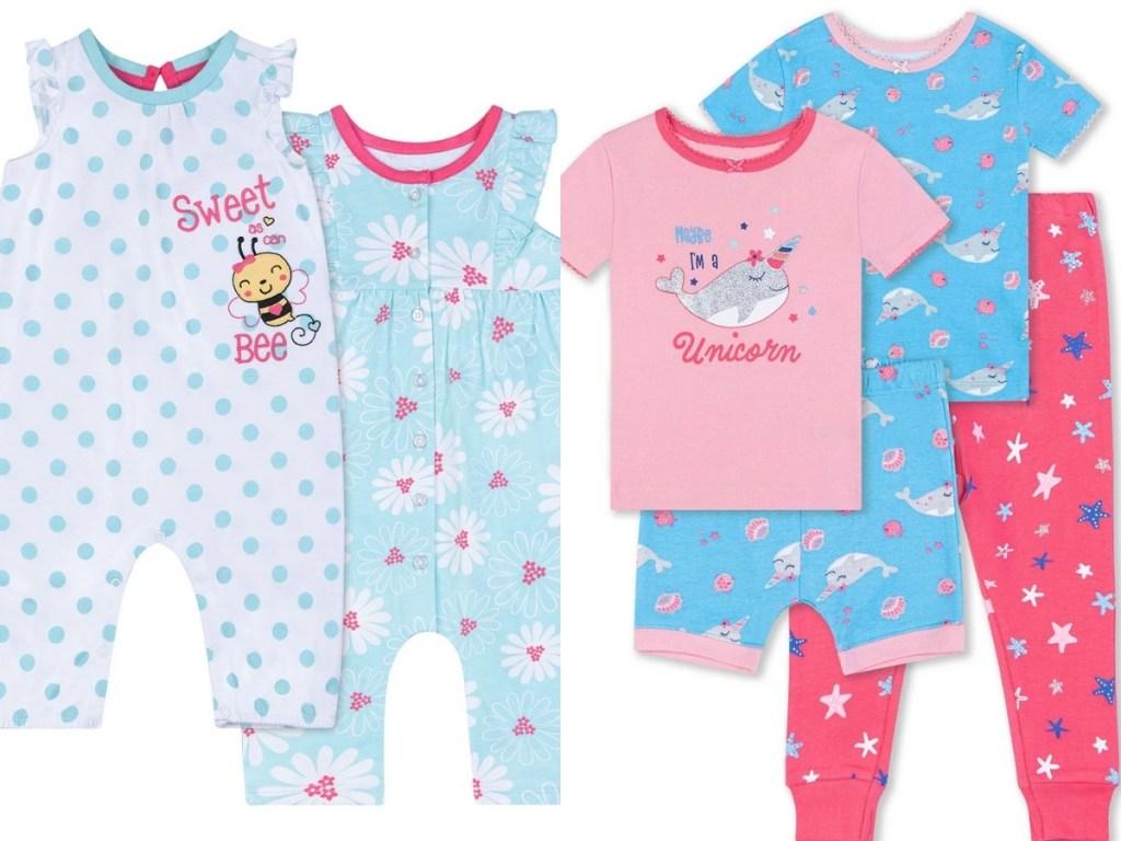 koala baby girls bee romper set and whale sleep set